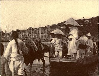 Imjin River - Ferry across the Imjin River in 1889