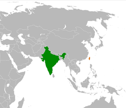 Map indicating locations of India and Republic of China