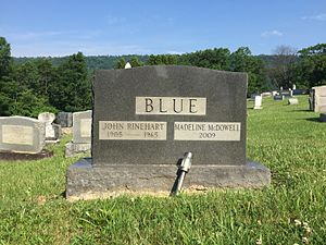 John Rinehart Blue - Gravestone at the interment site of John Rinehart Blue and his wife Madeline McDowell Blue at Indian Mound Cemetery in Romney, West Virginia.