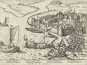 Capture of Geertruidenberg (1573) - Capture of Geertruidenberg, 1573 Etching by Frans Hogenberg