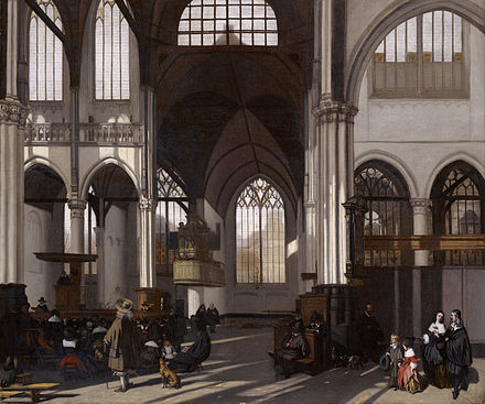 Calvinism has been known at times for its simple, unadorned churches and lifestyles, as depicted in this painting of the interior of the Oude kerk in Amsterdam by Emanuel de Witte c. 1661. Interior of the Oude kerk in Amsterdam (south nave), by Emanuel de Witte.jpg