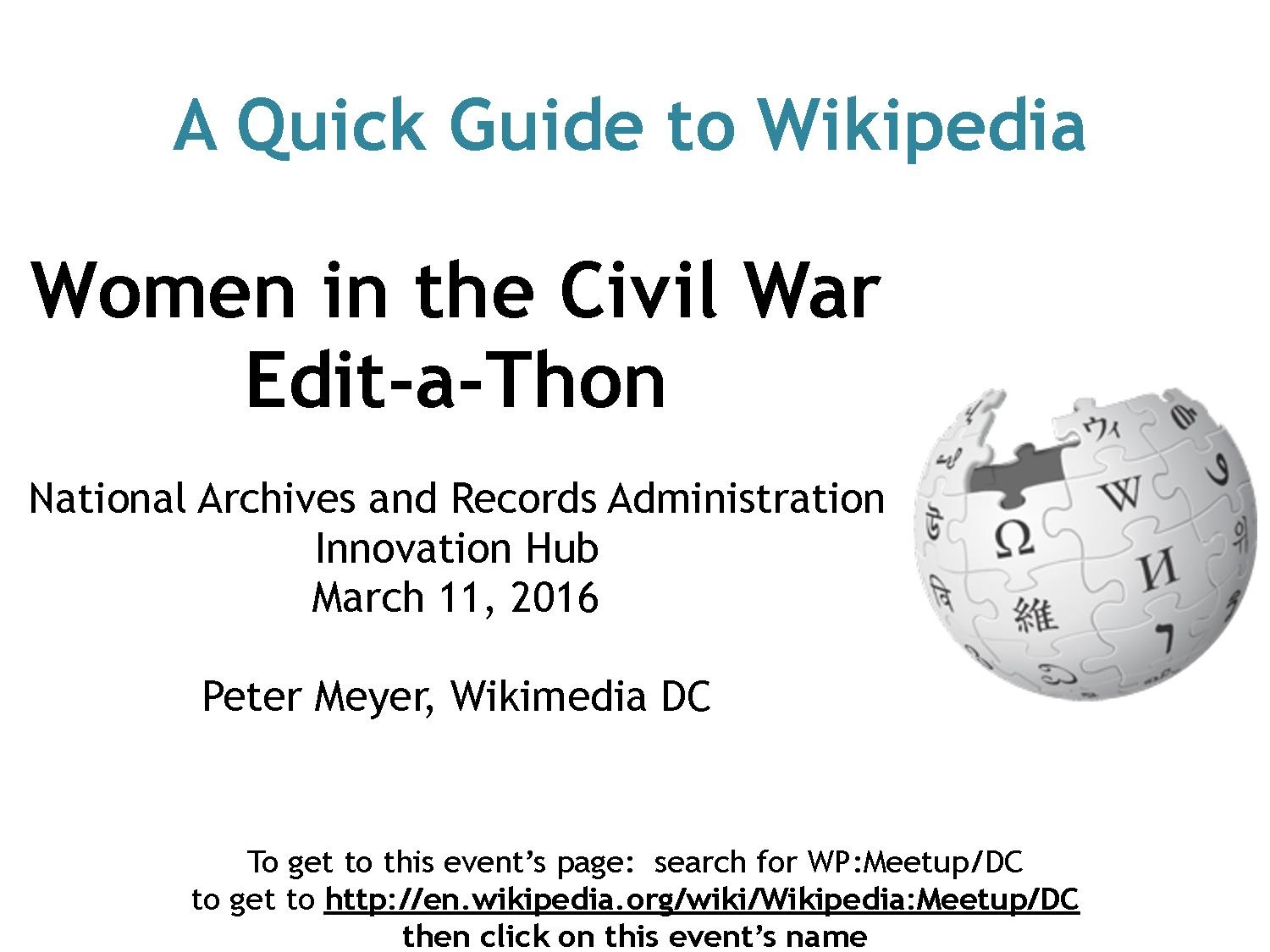 Wikipedia:Meetup/DC/NARA/Civil War - Wikipedia