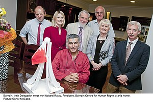 Human rights reports on the Bahraini uprising of 2011 - Irish Delegation meet with Nabeel Rajab, president of BCHR at his home
