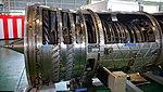Ishikawajima-Harima F100-IHI-220E turbofan engine(cutaway model) fan & fan duct section left front view at JASDF Hamamatsu Air Base September 28, 2014.jpg