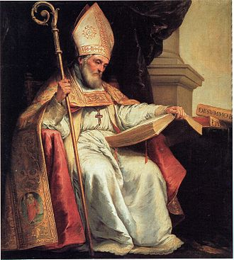 Doctor of the Church - St. Isidore of Seville, a 7th-century Doctor of the Church, depicted by Murillo (c. 1628) with a book, common iconographical attribute for a doctor.