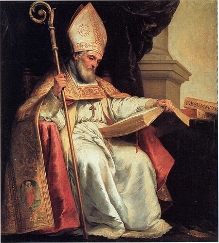 St. Isidore of Seville, a 7th-century Doctor of the Church, depicted by Murillo (c. 1628) with a book, which is a common iconographical attribute for a doctor. Isidor von Sevilla.jpeg