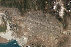 Geography of Salt Lake City - Photo taken by NASA of Salt Lake City, Utah.  North is to the left of the photo.