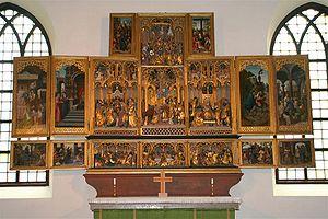 Jan van Coninxloo - Altarpiece of the church of Jäder in Södermanland County, Sweden. Paintings by Van Coninxloo, polychromy by Jan van Wavere, sculptures by Jan Borman.