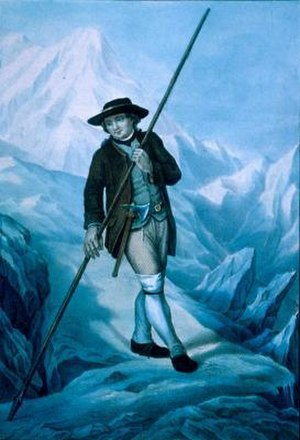 Ice axe - Jacques Balmat carrying an axe and an alpenstock.