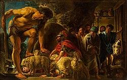 Tableau de Jakob Jordaens. À gauche à l'entrée de sa grotte le cyclope Polyphème palpe le dos de ses moutons qui sortent. Les Grecs se cachent en passant sous les moutons
