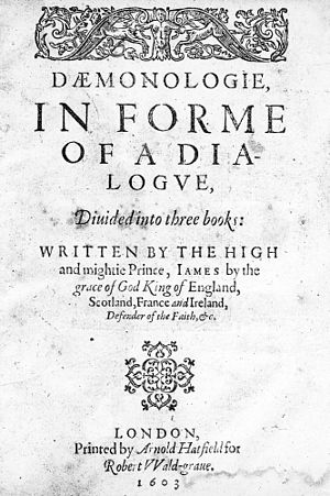 Fairy - Title page of a 1603 reprinting of Daemonologie