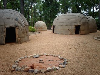 Powhatan - Reconstructed Powhatan village at the Jamestown Settlement living-history museum.
