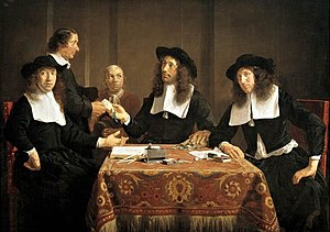 Regents group portrait - The regents of the Leproos-, Pest- en Dolhuis in Haarlem, painted by Jan de Bray in 1667