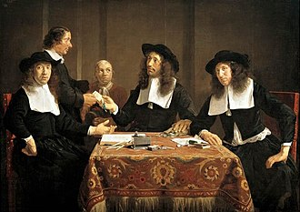 Regents group portrait - The regents of the Leproos-, Pest- en Dolhuis in Haarlem, painted by Jan de Bray in 1667