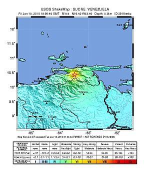 El Pilar Fault System - ShakeMap of the 2010 Venezuela earthquake that occurred along El Pilar Fault System.