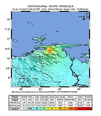 El Pilar Fault System - ShakeMap of the 2010 Venezuela earthquake that occurred along El Pilar Fault System.