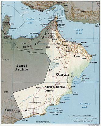 Jiddat al-Harasis - Location in Oman