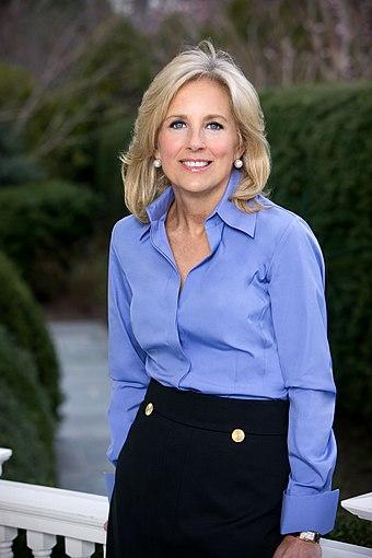 Jill Biden official portrait. Nothing artificial here., From WikimediaPhotos