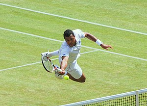 Jo-Wilfried Tsonga - Tsonga playing a lunging dive volley against Novak Djokovic in their 2011 Wimbledon semifinal