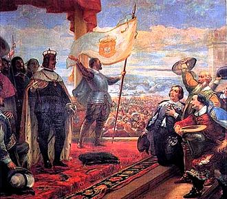 Iberian Union - Acclamation of John IV as King of Portugal, painting by Veloso Salgado in the Military Museum, Lisbon.