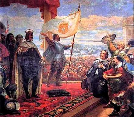 Acclamation of John IV as King of Portugal, painting by Veloso Salgado in the Military Museum, Lisbon. Joao IV proclaimed king-modificated.jpg