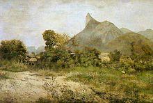 A pintura de paisagem casas retratando aninhado entre árvores no meio-distância, e uma grande colina encimada por um pináculo da rocha na distância distante