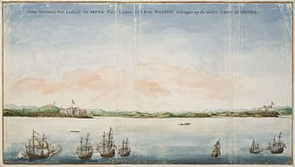 Dutch Gold Coast - Painting by Johannes Vingboons of both Fort São Jorge at Elmina and Fort Nassau at Moree.