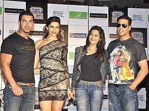 Chitrangada Singh - John Abraham, Deepika Padukone, Chitrangada Singh and Akshay Kumar during their film Desi Boyz Promotions, 2011
