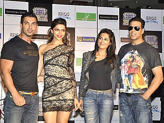 Chitrangada Singh - John Abraham, Deepika Padukone, Chitrangada Singh and Akshay Kumar during their film Desi Boyz Promotions, 2011