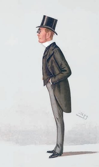 "John Balfour, 1st Baron Kinross - ""the Lord Advocate"" Balfour as caricatured  by Spy (Leslie Ward) in Vanity Fair, May 1886"