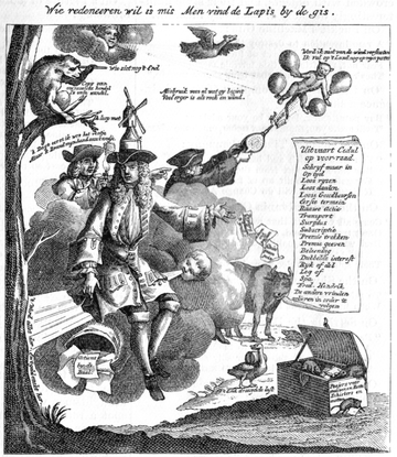 Failure of John Law's Mississippi Company led to French national bankruptcy in 1720. John Law cartoon (1720).png