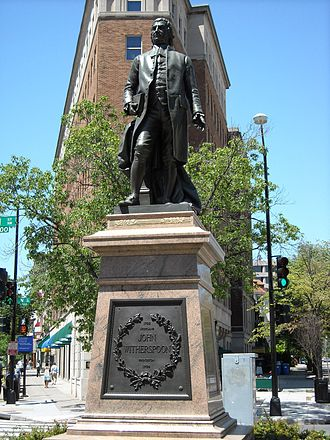 National Register of Historic Places listings in the upper NW Quadrant of Washington, D.C. - Image: John Witherspoon statue DC
