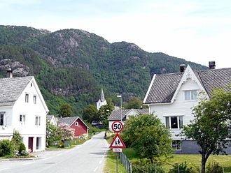 Jondal - Village of Jondal, with the church in the back
