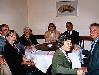 Science and Civilisation in China - Joseph Needham, in 1988, surrounded by Chinese History and Sciences scholars.
