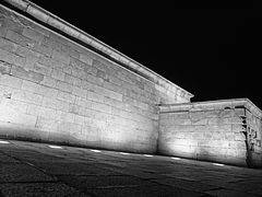 July 2014 Temple of Debod in Madrid, Spain ' Photographed at night in black and white.JPG