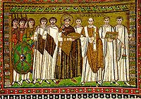 Justiniano I, mosaico en la iglesia de San Vital, en Rávena.
