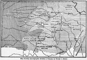 Red Hills (Kansas) -  Map showing physiographic divisions of Kansas