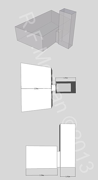 KV44 - Isometric, plan and elevation images of KV44 taken from a 3d model