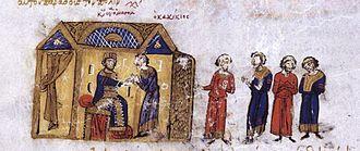 Gagik II of Armenia - Gagik submits to Constantine IX Monomachus. Miniature from the Madrid Skylitzes.