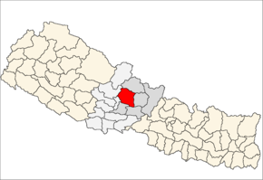 Kaski District i Gandaki Zone (grå) i Western Development Region (grå + lysegrå)