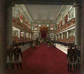 Koronacja cesarzowej i królowej Aleksandry przez Mikołaja I w Zamku Królewskim w Warszawie (24.V.1829 r.)