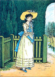 illustration of a young woman dressed in a white ruffled dress with a large sash tied in a bow wearing a large brimmed hat against a background of a garden fence tall hedges and stream