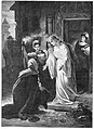 Kath. Illustratie 1894 Lohengrin, Ortrud knees for Elsa, by Th. Pixis.jpg