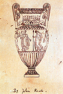 "A fine-line drawing of an urn. It is tall, with high scrolled handles, around the middle is a frieze of figures, of which four can be seen. From left to right, a naked man with a helmet and sword, a dancing woman in a flowing garment, a robed woman carrying a spear and a naked man with a cloak hanging from his shoulder, the drawing is inscribed ""By John Keats""."