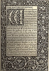 The Nature of Gothic by John Ruskin, printed by Kelmscott Press. First page of text, with typical ornamented border.
