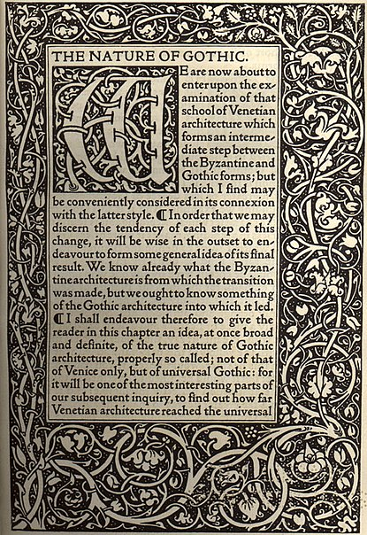 File:Kelmscott Press - The Nature of Gothic by John Ruskin (first page).jpg