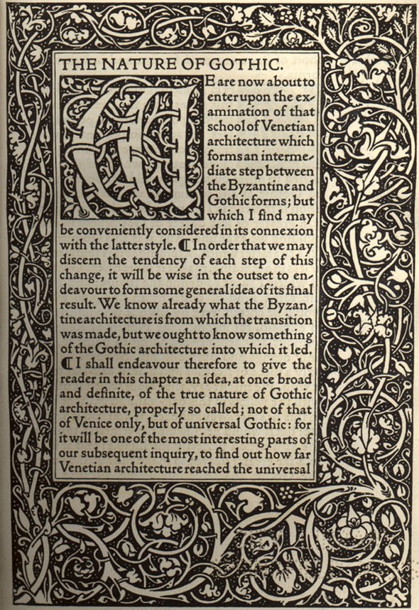 Kelmscott Press - The Nature of Gothic by John Ruskin (first page)