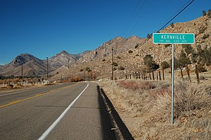 Kernville, California - Guide sign at southeast side of town along Sierra Way.