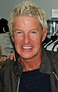 Kevin Cronin backstage at Rock of Ages off-Broadway musical.jpg