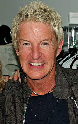 Kevin Cronin backstage at Rock of Ages off-Broadway musical